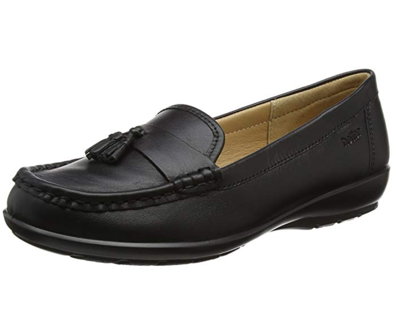 Hotter Abbeyville Womens UK 7 & 8 STD Black Leather Leather Leather Slip On Loafer Flats shoes 15aeec