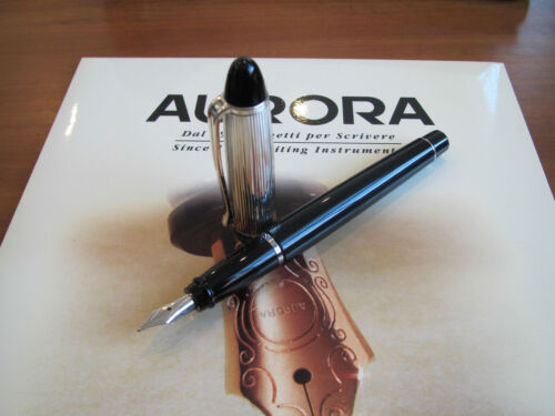 Aurora Ipsilon silverplated cap black barrel fountain pen B11A