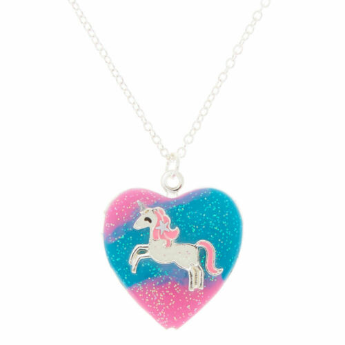 Claire/'s Girl/'s Silver Pastel Unicorn Heart Locket Pendant Necklace Blue//Pink
