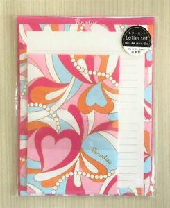 Letter-Sheet-Envelope-Set-Psychedelic-Pink-Heart-Stationery-Japanese