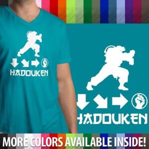 Hadouken Text Mens PRINTED T-SHIRT Street Fighter Game Gaming Ryu Combat Energy