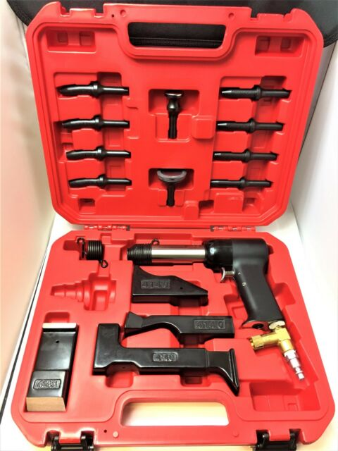 Rivet Gun Kit w/ 4x Rivet Gun Bucking Bar Rivet Sets and Tool Box BRAND NEW