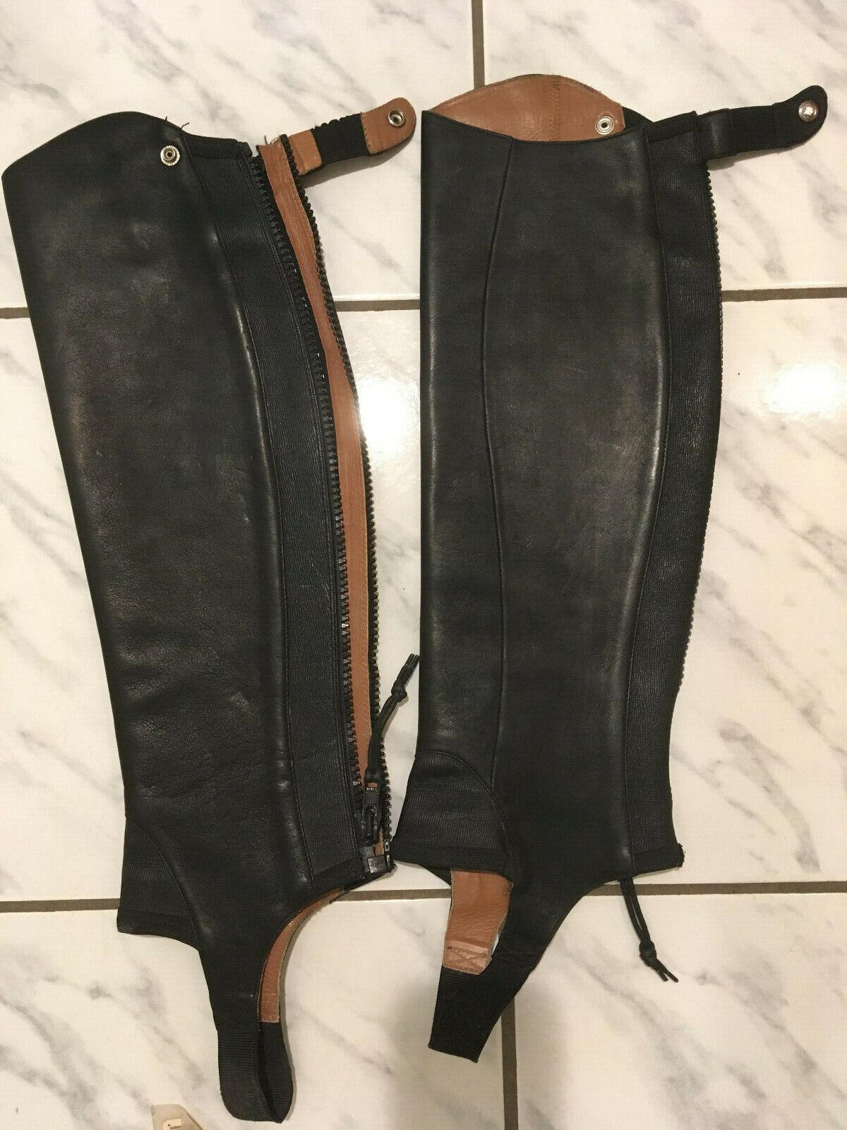Ariat schwarz close contact leather half chaps Größe ST full length zipper