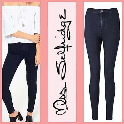 MISS SELFRIDGE Womens Steffi Super High Waist Dark Blue Jeggings Skinny Jeans