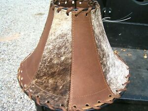 Cowhide and Leather Lamp Shade, Rustic lamp shade 0737