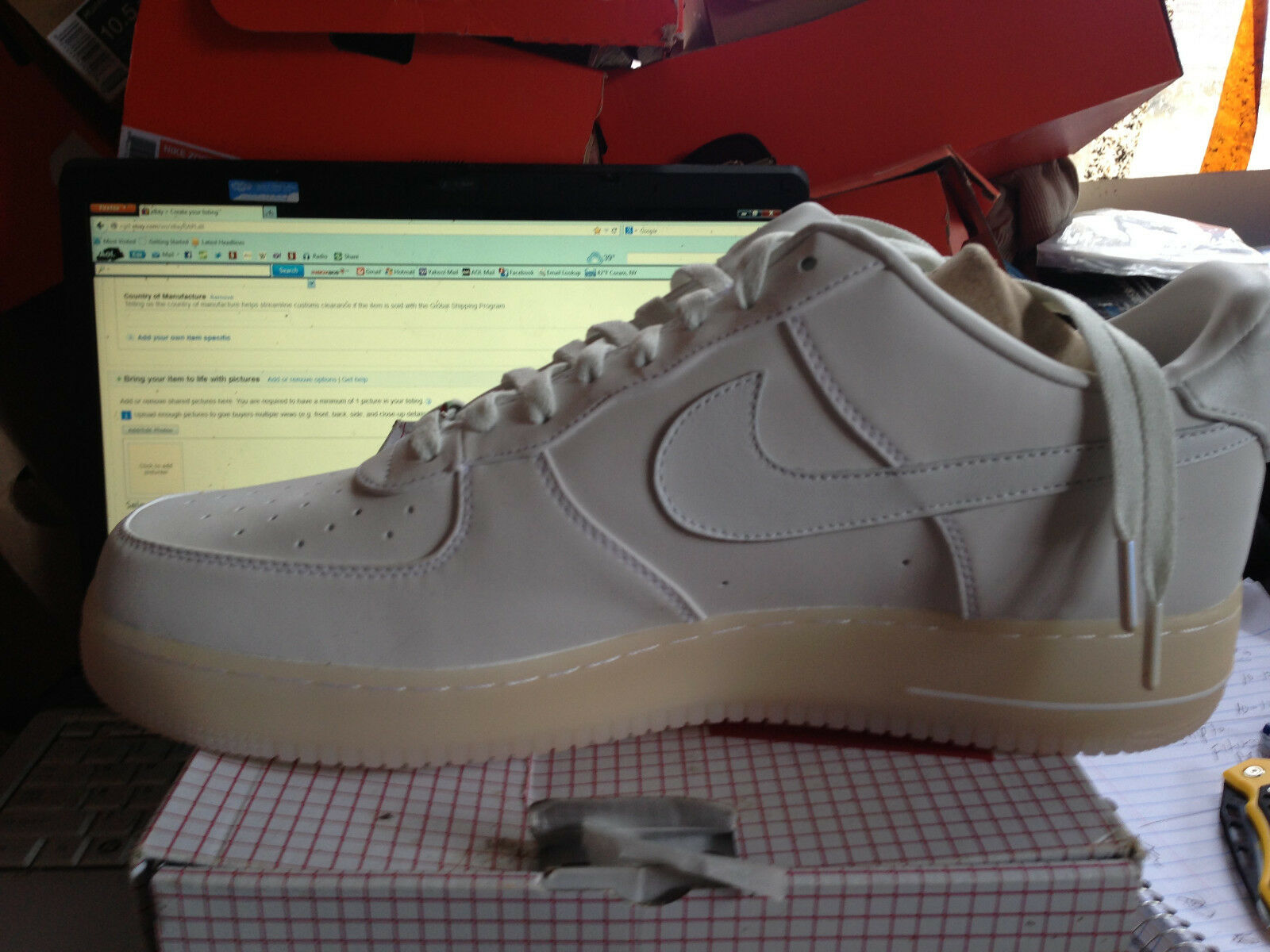 MENS A FORCE 1 LOW PREMIUM 08 QS NEW NEW NEW NO BOX WH WH SIZE 13 3d7583