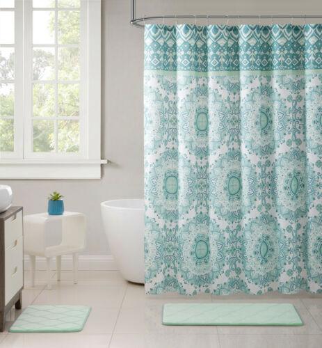 VCNY Home Phoebe Medallion 13 Pc Aqua /& Blue Fabric Shower Curtain /& Hooks Set