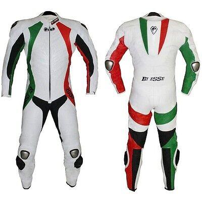 Tuta Intera Moto Racing In Pelle Tripple Cuciture Biesse Trecolori Materiali Accuratamente Selezionati