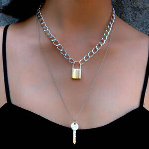 Double Layer Key Pad Lock Long Chain Pendant Choker Necklace Women Punk JeweYJCA