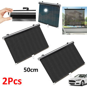 2-X-50cm-Car-Window-Sun-Shade-Roller-Blind-Screen-Protector-Sun-Visor
