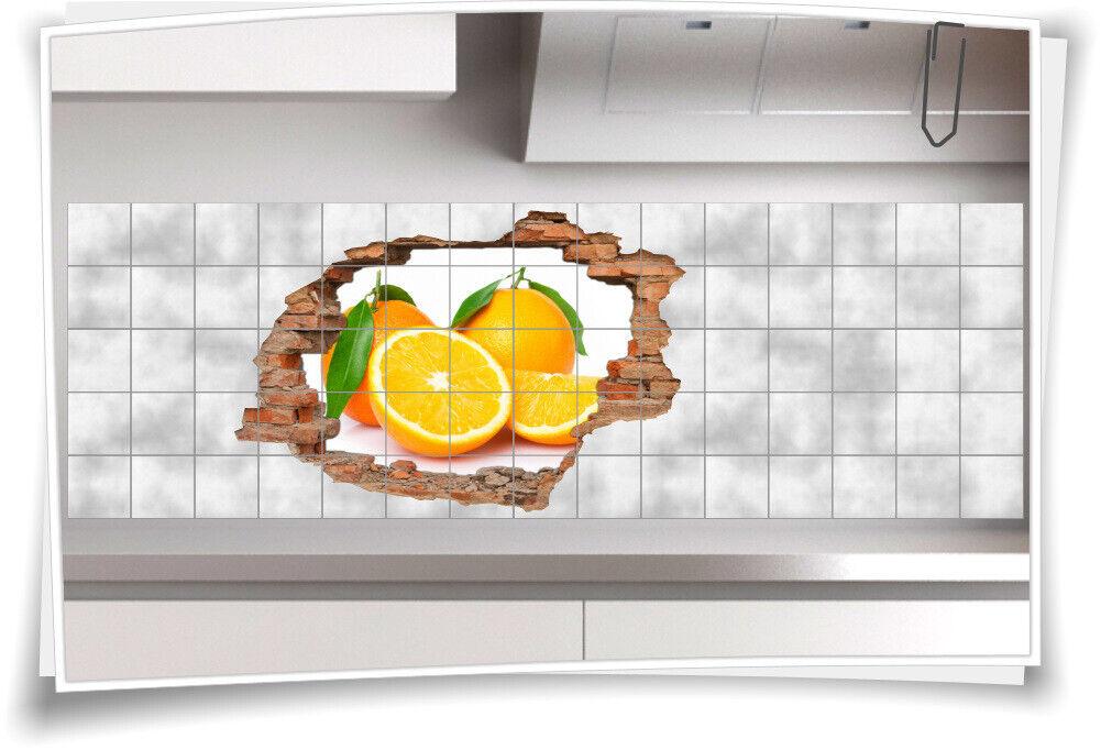 Fliesen-Bild Wand-Durchbruch 3D Fliesen-Aufkleber Zitrus-Pflanze Orange Frucht