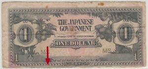 Mazuma *M727 Malaya Japanese WWII JIM 1942 $1 MS Minor Error F Only