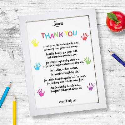 Personalised Word Art Teddy Bear Shape thank you pre-school teacher
