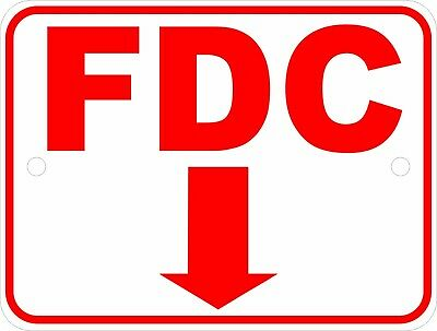 Size Options FDC Fire Department Connect with Arrow Sign Fire Safety Signs