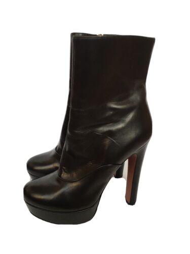 ALAIA Black Leather Heel Platform Boots 39