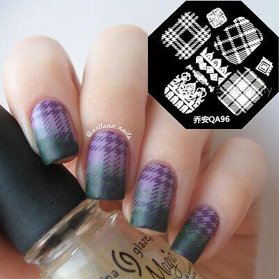 1Pc Nail Art Stamp Template Image Stamping Plates DIY Plaid Stripe Pattern QA96