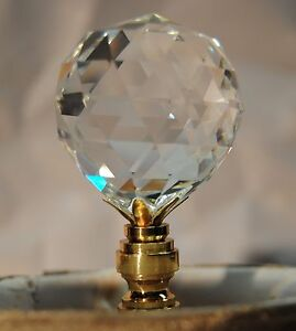 Lamp Topper Shade Finial Clear Lead Crystal Glass Cut