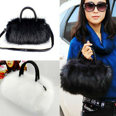 HOT Women Ladies Faux Rabbit Fur Handbag Shoulder Messenger Bag Cross Body Tote