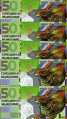 UNC Rabbit China Lunar Year 2011 Banknotes Kamberra 50 Numismas Polymer