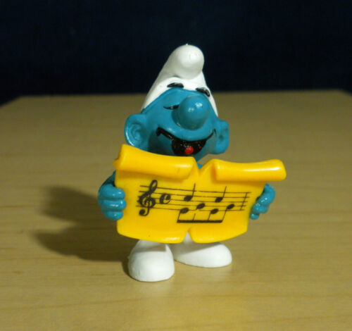 Smurfs 20038 Singer Smurf Sheet Music Song Book Vintage Figure PVC Peyo Figurine
