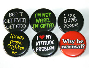 ANTI-SOCIAL-SLOGANS-Set-of-6-BADGES-Buttons-Pins-Lot-Punk-32mm