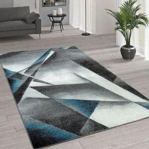 Blue Rug Abstract Geometric Living Room