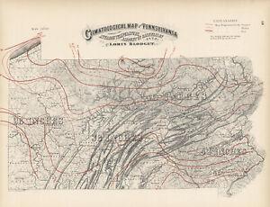 1872 Climatological Map of Pennsylvania- Original, lithograph