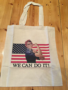 039-Rosie-the-Riveter-039-WW2-Propaganda-Lightweight-Cotton-Shopping-Bag-US-Flag