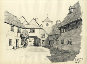 Austin Blomfield - 1941 Charcoal Drawing, Courtyard of the George, Dorchester