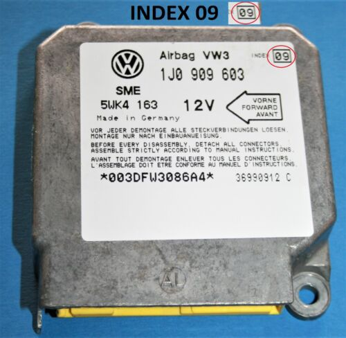 VW Polo 6N Módulo Sensor de Control de Airbag Accidente Unidad ECU 1J0909603 índice 09