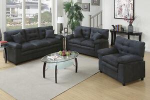 Microfiber Living Room Furniture 3Pc Sofa Set Sofa Loveseat & Chair ...