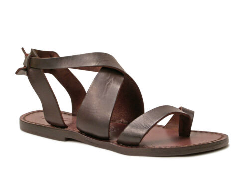 Women ankle strap flip flop sandals in Dark Brown Leather handmade in Italy