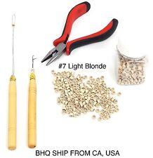 500pcs Silicone Beads + Micro Rings Loop Hair Extensions Pliers Hook Tool Kit #7