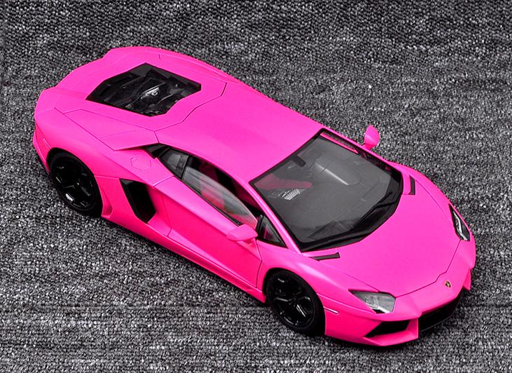 Welly 1 18 Lamborghini Aventador LP700-4 Racing  Diecast Model voiture rose  Style classique