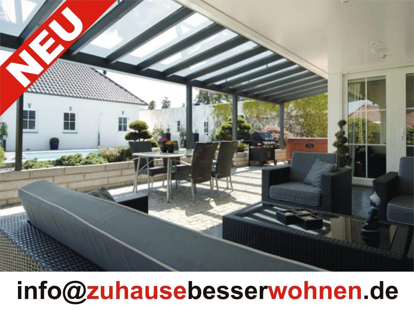 Terrassenüberdachung Alu Terrassendach vorbereitet für VSG Glas- ohne Glas 5x3,5