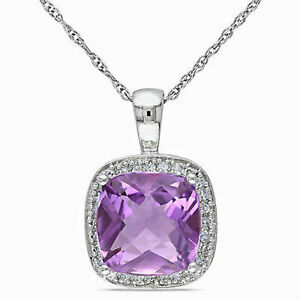 10k white gold 110 ct diamond 2 12 ct amethyst pendant necklace image is loading 10k white gold 1 10 ct diamond amp mozeypictures Image collections