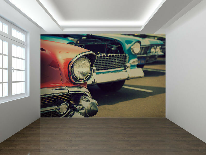 Coches Clásicos en una una una Fila Papel Pintado Foto Mural Pa rojo  (52543642) d96977
