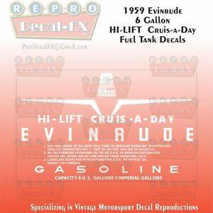 1953-56 Evinrude 6 Gallon US CruiseADay Fuel Tank Decals Reproduction 2Pc Vinyl
