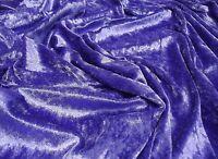 Crushed Velvet Velour Fabric Material - DARK PURPLE