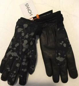 Honns-Mens-Leather-Gloves-Black-Splatter-Touchscreen-Medium-Large-Logan-Wool