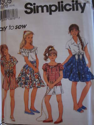 Uncut Vintage Simplicity SEWING Pattern 7664 Girls Top Pants Shorts 7-16 FF OOP