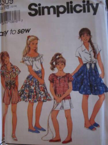 8309 Vintage Simplicity SEWING Pattern Girls Shorts Top Skirt UNCUT EASY FF OOP