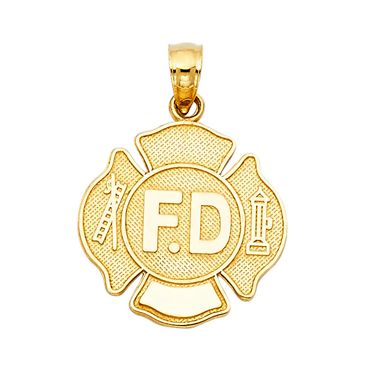 14K Yellow gold Fire Department Pendant Jewelry For men