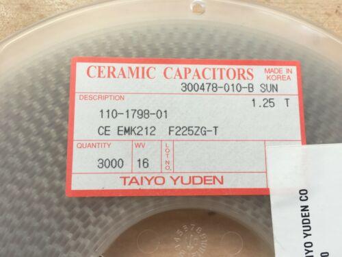 3000 piezas Z3174 Condensador Cerámico 2.2UF 16V Y5V 0805 Carrete Completo