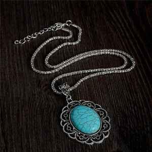 Women-Turquoise-Choker-Bib-Statement-Pendant-Chain-Collar-Necklace-Charm-Jewelry
