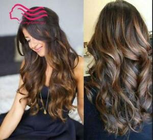 100% Real hair! New Fashion Beautiful Women's Long Brown Curly Human Hair Wigs