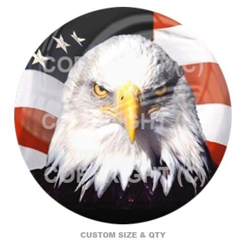 Premium Glossy Round 3D Epoxy Domed Decal Indoor Outdoor Bald Eagle USA C S143