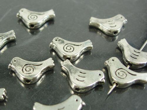 versilbert; W90 Vogel 10 x Metallperle 15 x 9 mm