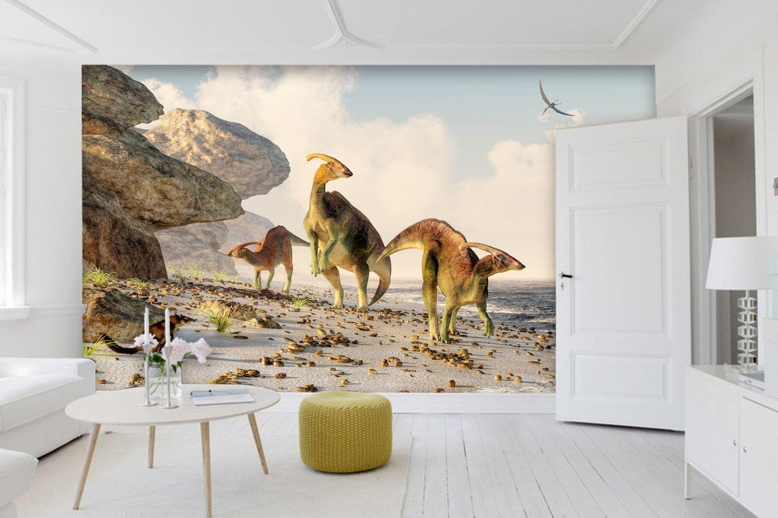3D Beach Animal Dinosaur 3 Wallpaper Mural Print Wall Indoor Wallpaper Murals UK