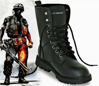 Men's Leather Military Boots   Army Boots Tactical Lace Up Combat Martin Boots